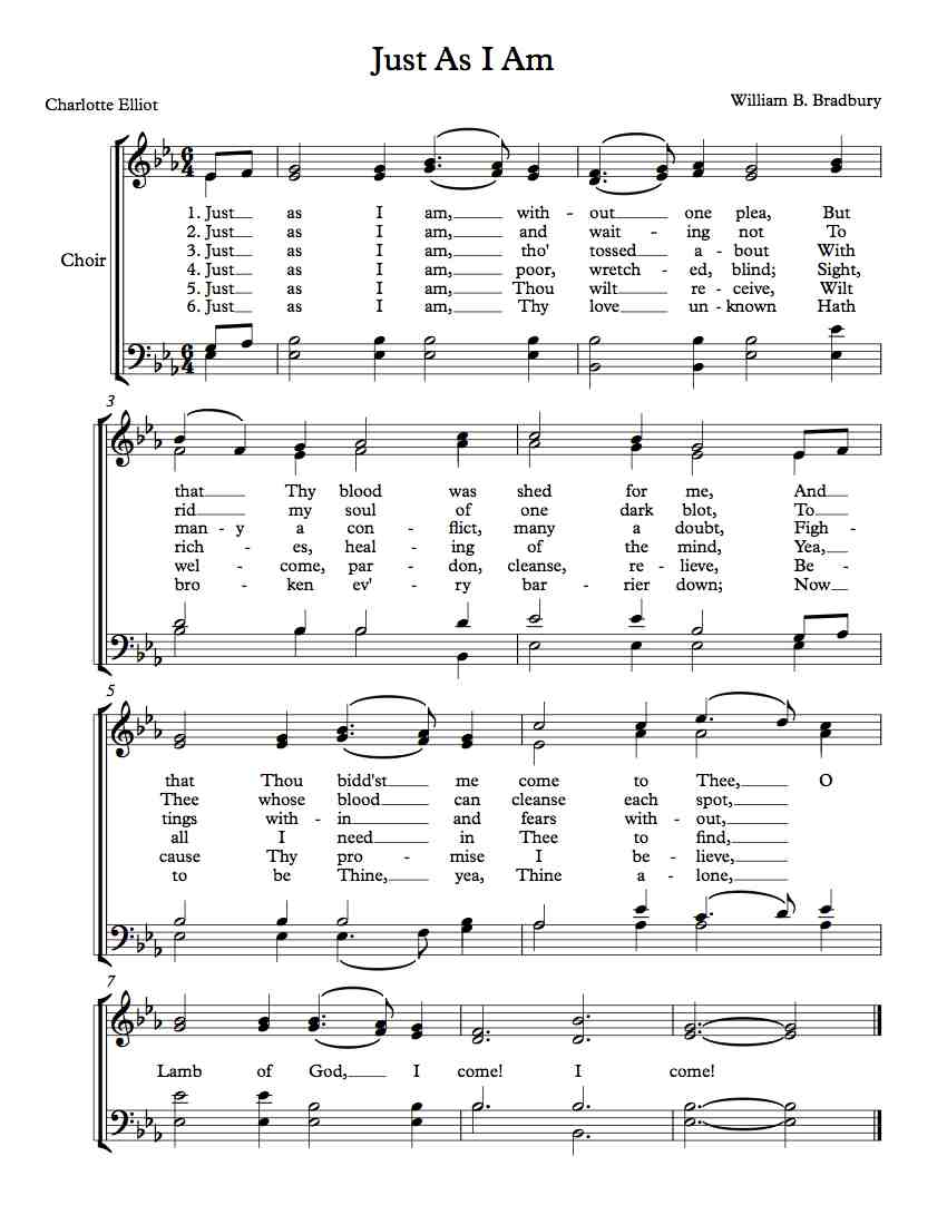 Free Choir Sheet Music Just As I Am Michael Kravchuk
